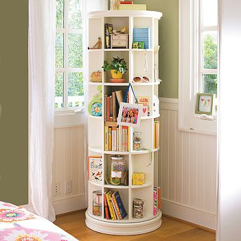 I L-O-V-E this space-saving and good-looking Revolving Boocase from PB Teen.