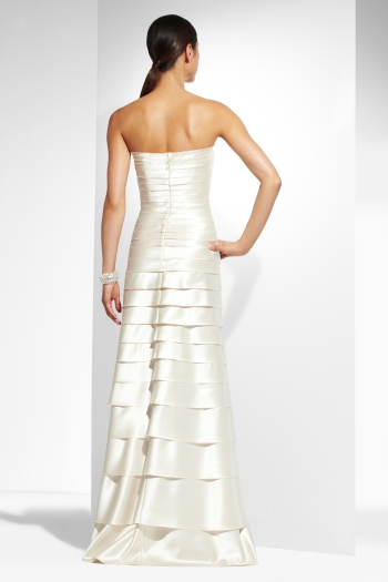 {Strapless Tiered Satin Gown,