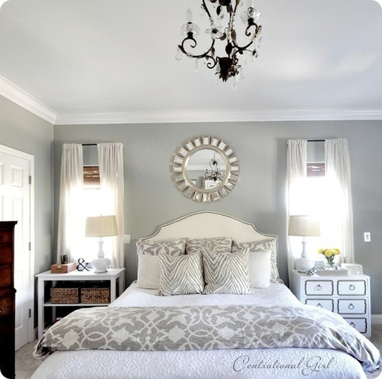 Lessons from pinterest master bedroom spark for Bedroom decorating ideas with grey walls